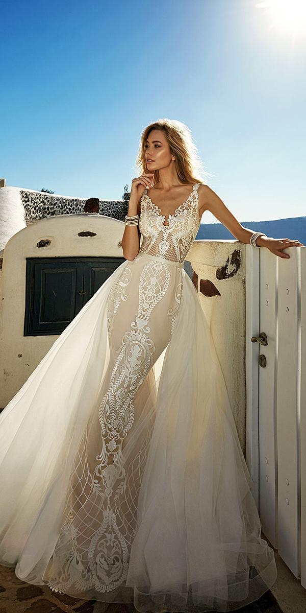 sheath overskirt lace spaghetti neckline ivory wedding dresses eva lendel 2017 bridal collection