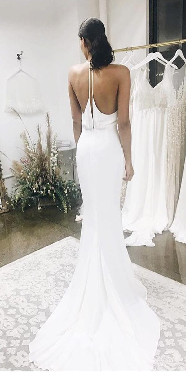 trumpet backless simple chiffon skirt alexandra grecco wedding gown styles