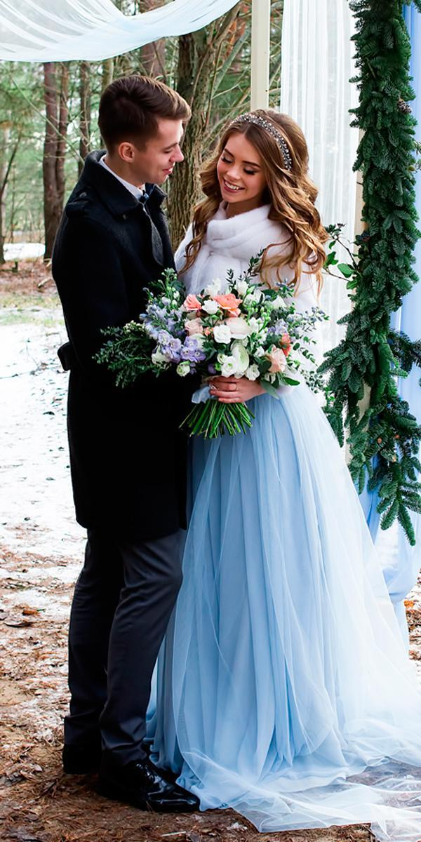 wedding dress colors a line blue tulle winter with fur your personal