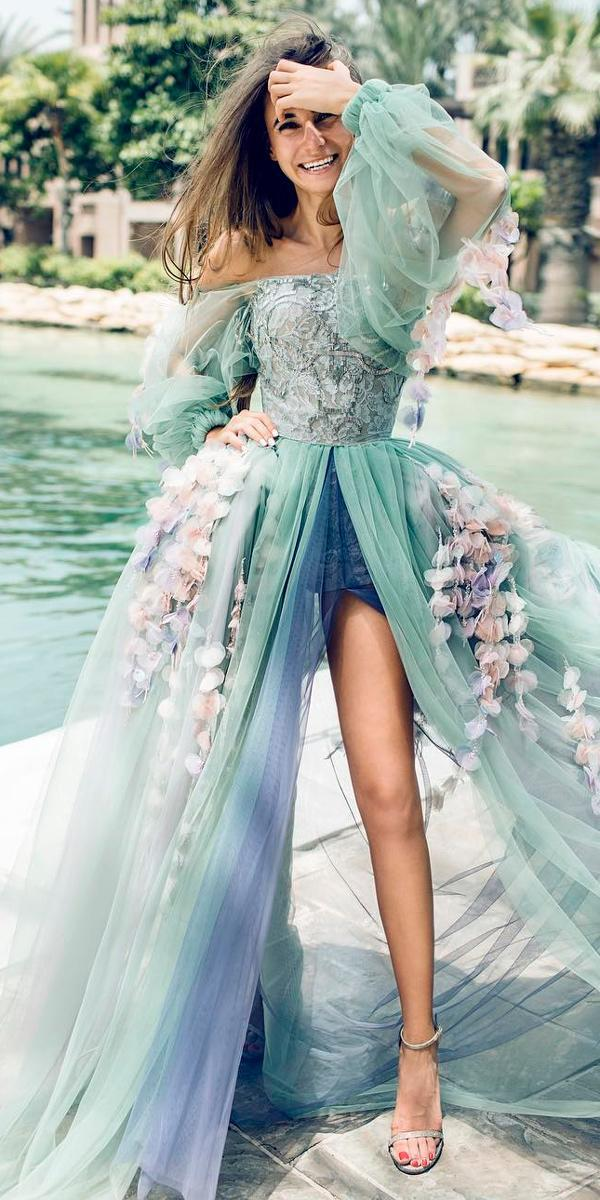 wedding dress colors ball gown green color summer off the shoulder long sleeve sweetheart neck samarova m