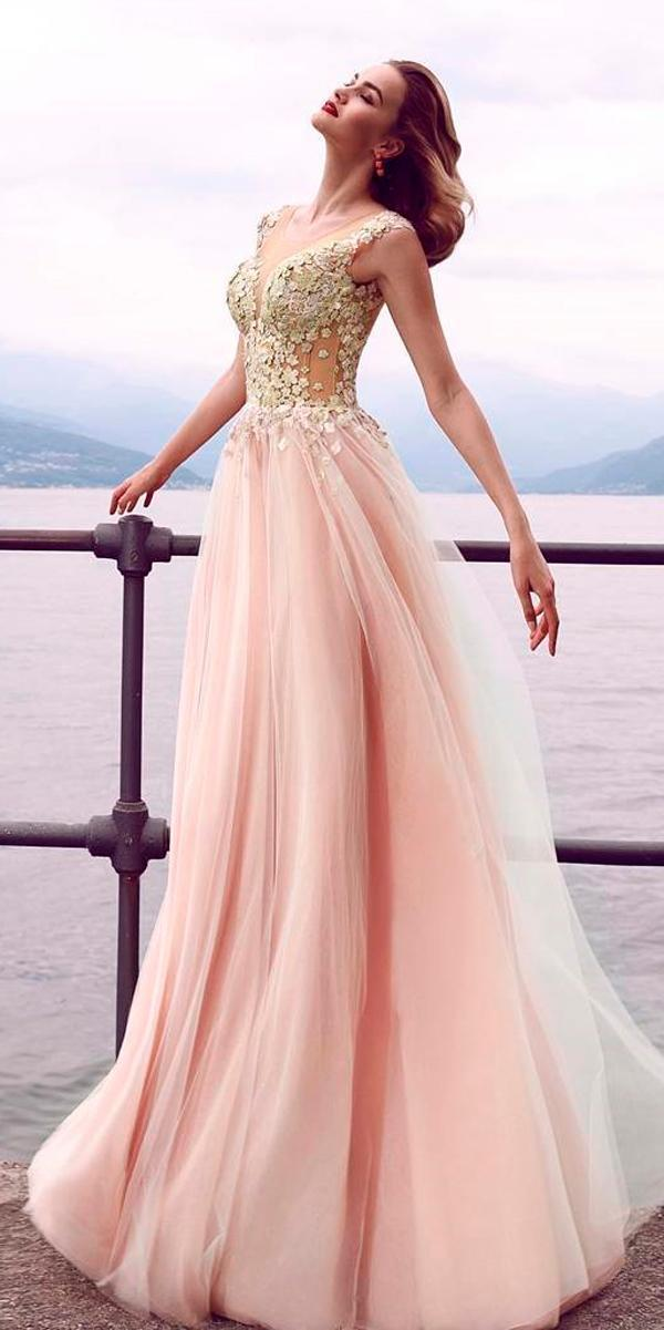 wedding dress colors spring blush color illusion neck cap sleeves a line innocentiadresses