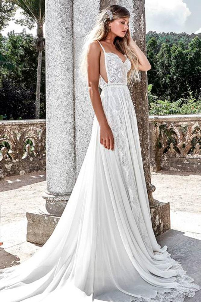 a line lace spaghetti strap wedding dress rental solo merav