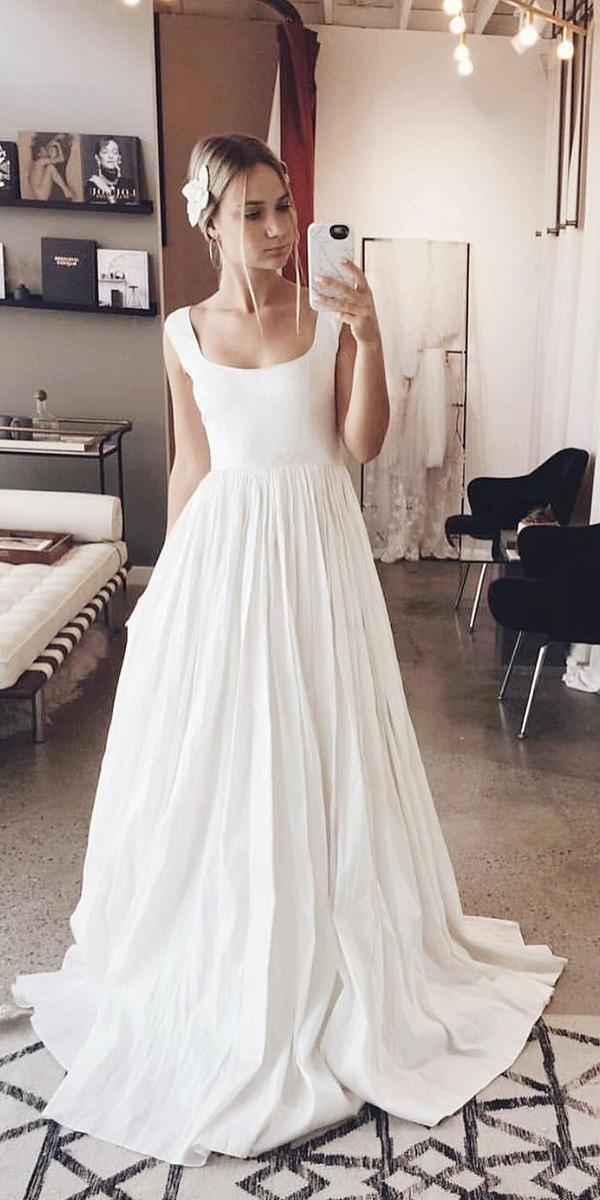 wedding gown styles a line scoop neckline with cap sleeves simple odylynethe ceremony