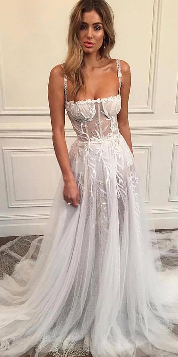 wedding gown styles a line with spaghetti straps floral embellishment pallas couture
