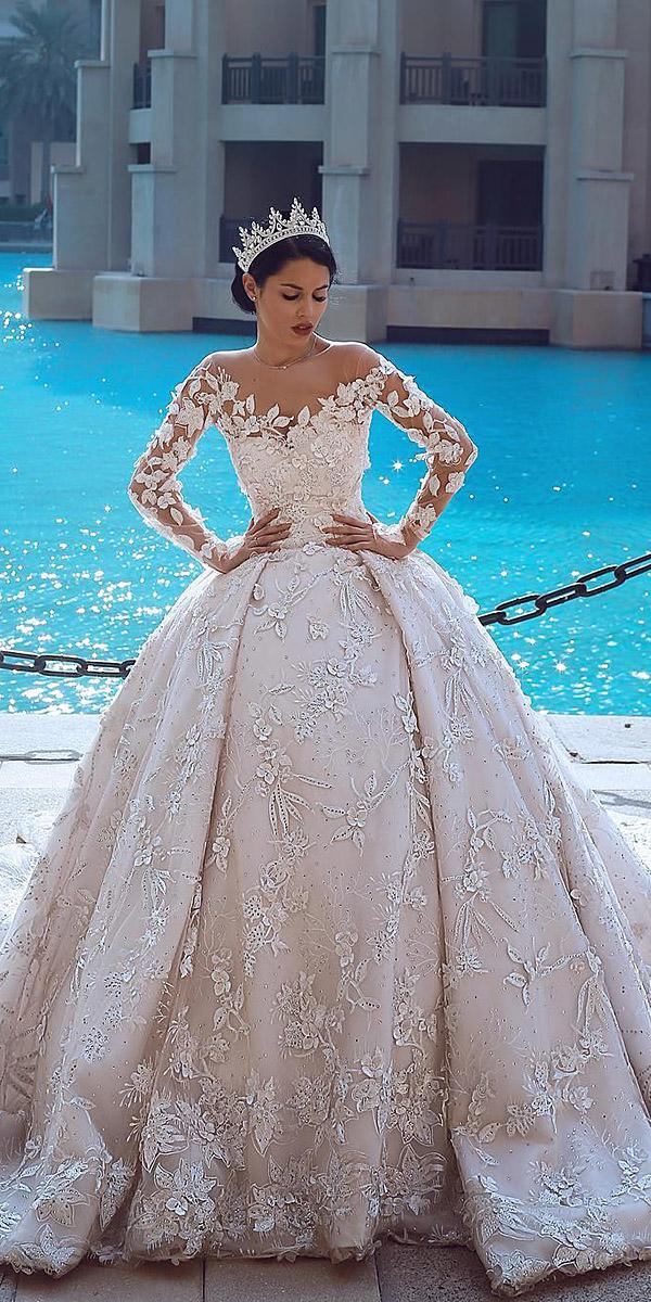 wedding gown styles ball gown with long sleeves illusion neckline floral appliques merita