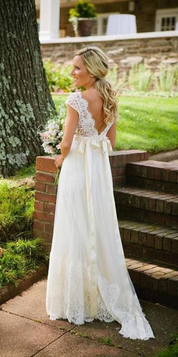 wedding gown styles empire v back lace top with bow claire pettibone