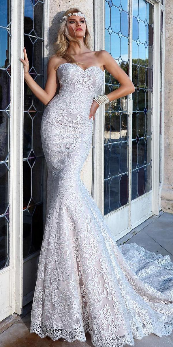 wedding gown styles fit and flare strapless full lace ashley justin brid