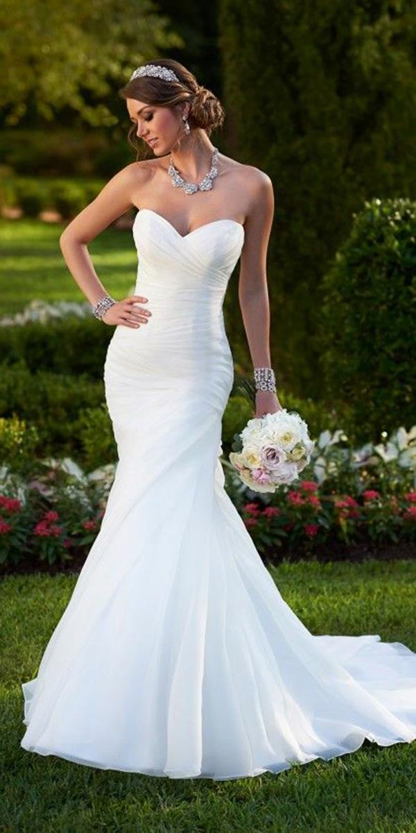 wedding gown styles fit and flare strapless simple essense of australia