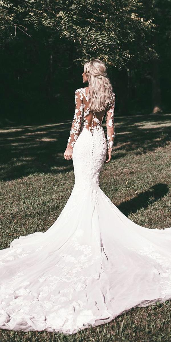 wedding gown styles mermaid with long sleeves illusion back floral pronovias