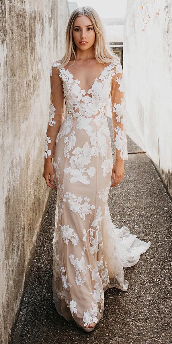 wedding gown styles sheath floor length with long sleeves blush goddess by nature