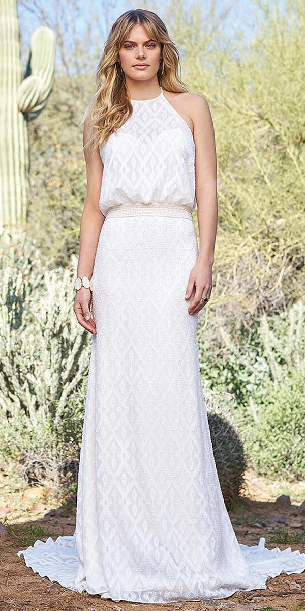 wedding gown styles sheath halter neckline simple by lillian west