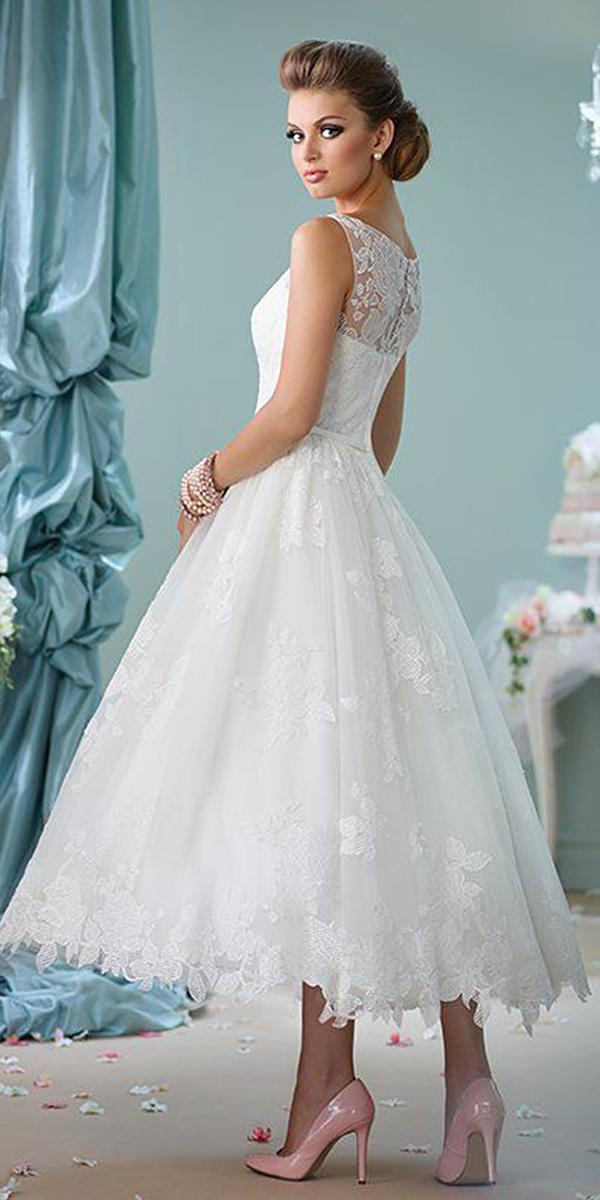wedding gown styles tea length lace illusion back mon cheri
