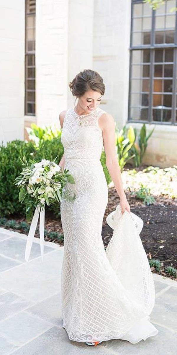 wedding gown styles trumpet halter neckline lace with train lazaro bridal