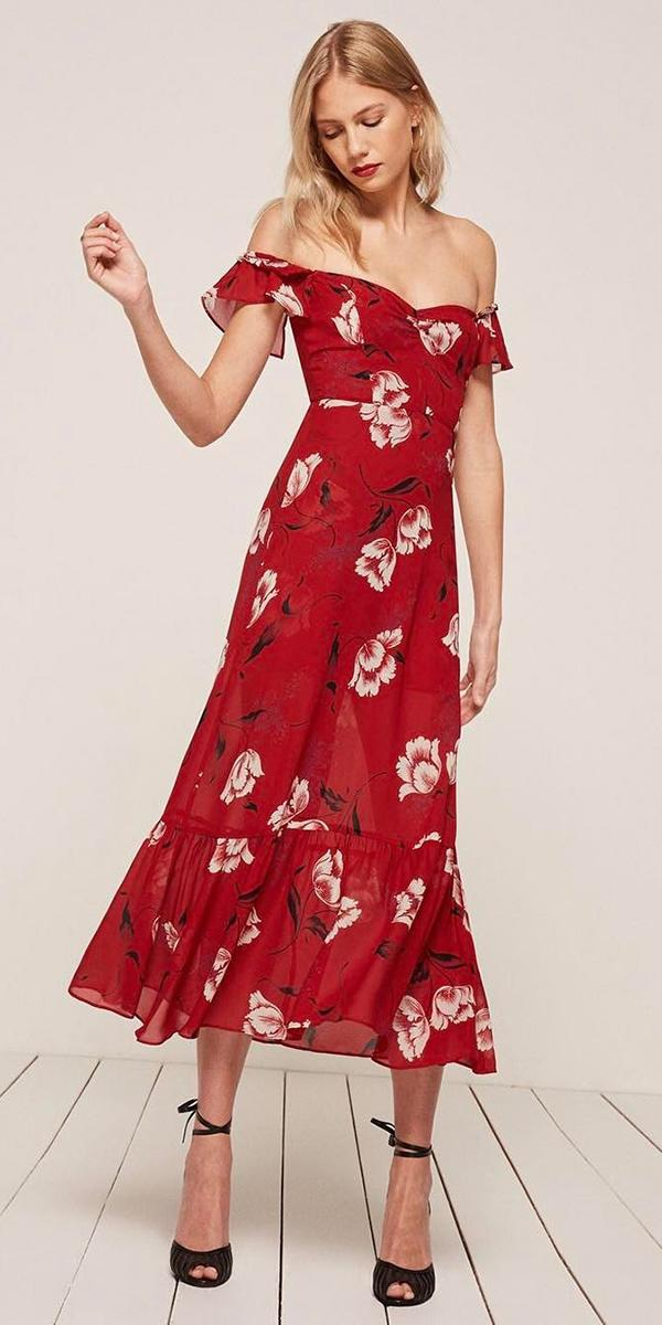 wedding guest gowns long off the shoulder red floral for summer reformation