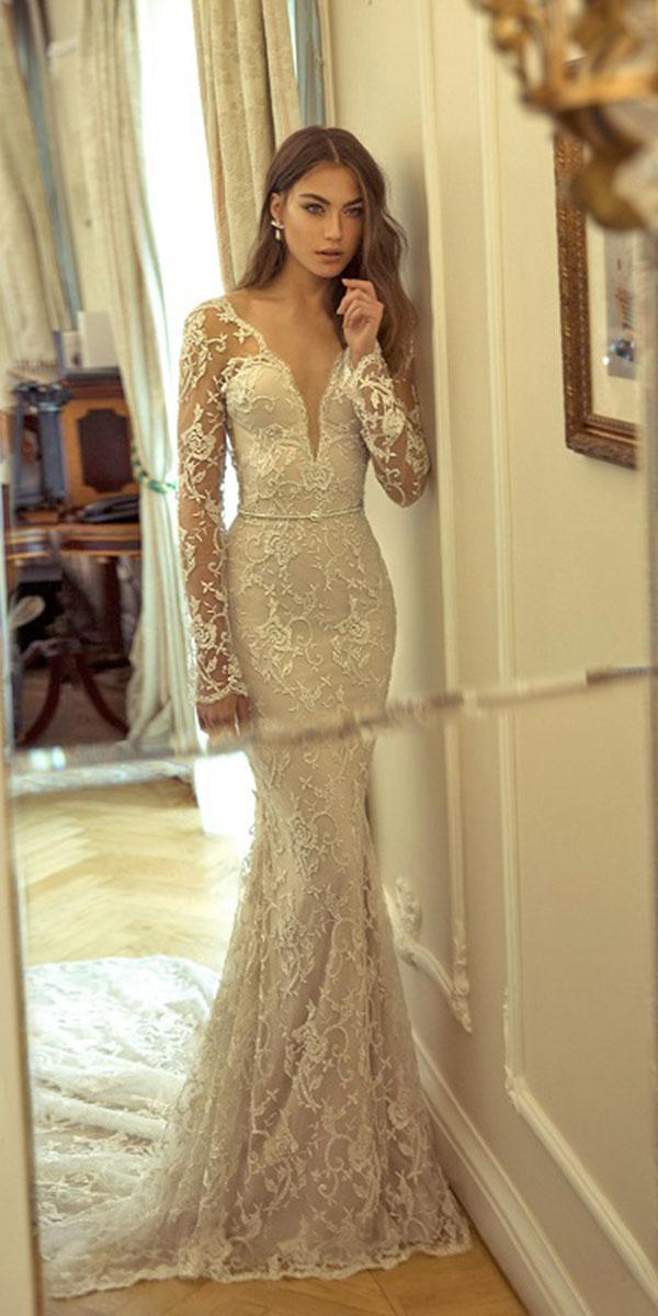 lace mermaid deepneckline with spaghetti strap julie vino wedding dresses