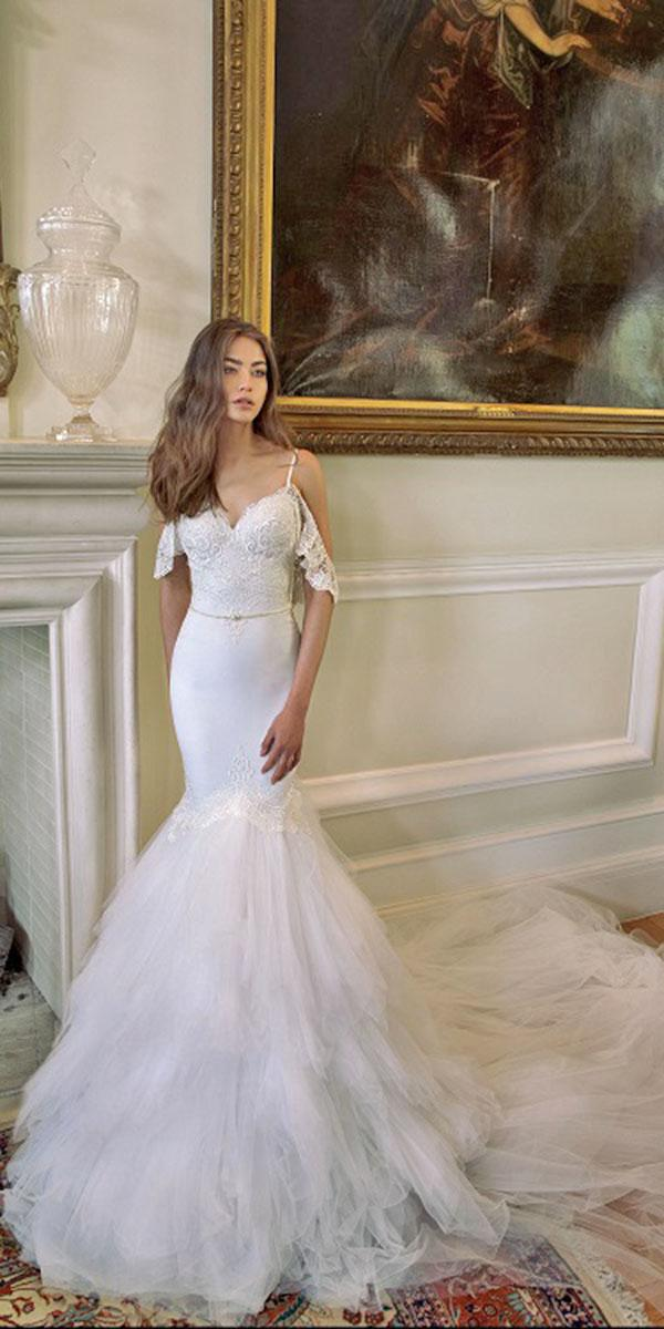 mermaid full skirt with off shoulder and ruffles and train julie vino wedding dresses