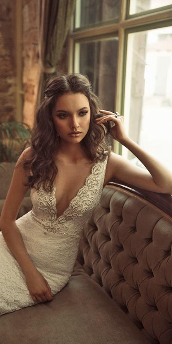 mermaid lace with deepneckline and train julie vino wedding dresses