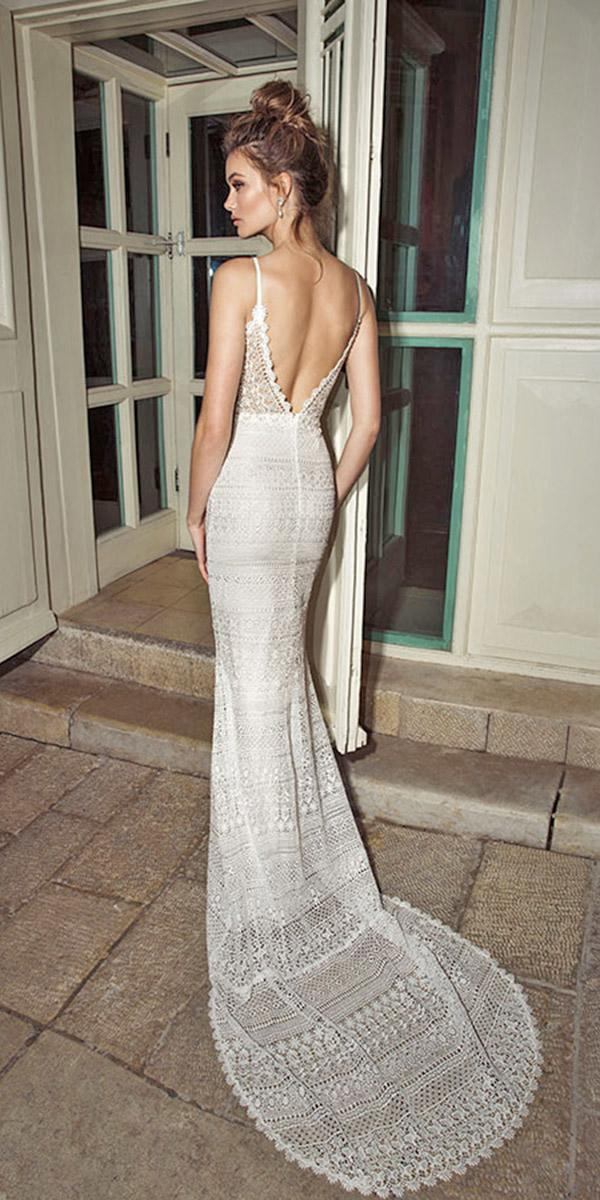 mermaid backless with train and spaghetti strap julie vino wedding dresses