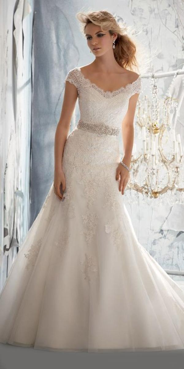 lace trumpet off shoulder wedding dresses with crystal belt mori lee