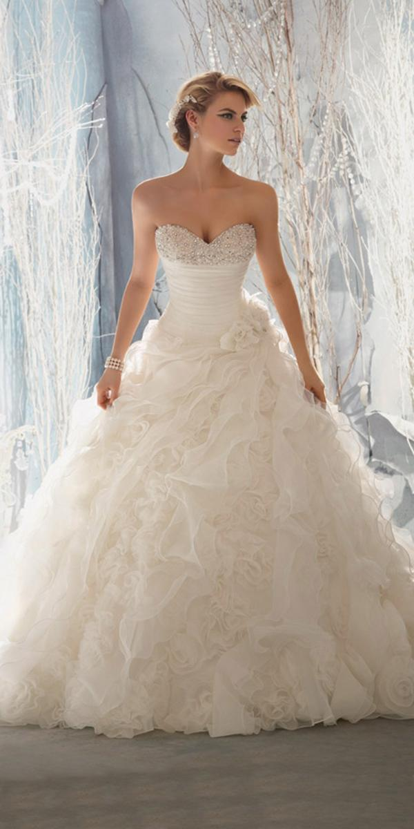 sweetheart ballgown with ruffle mori lee wedding dresses