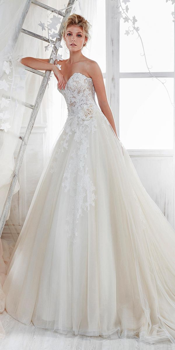 aline with srapless embroidered lace sweetheart nicole spose wedding dresses