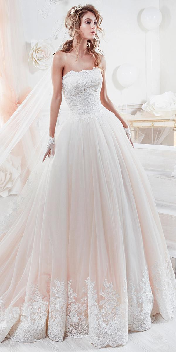 ball gown with srapless lace straight neckline nicole spose wedding dresses