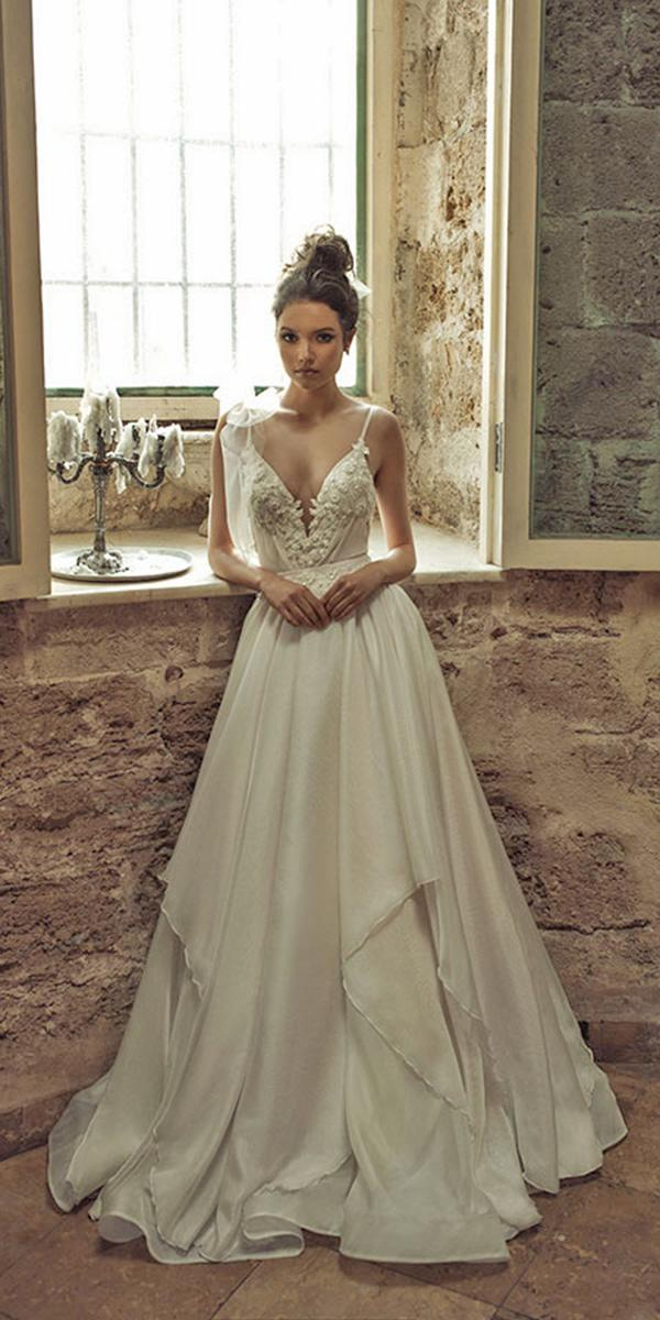 a line with deepneckline and spaghetti strap julie vino wedding dresses
