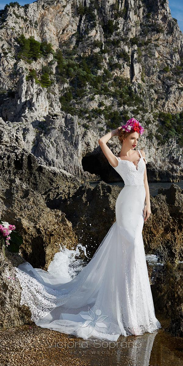 sheath with off shoulder strap and train victoria soprano wedding dresses