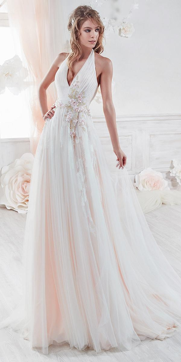 aline pink with flowers and halter srap nicole spose wedding dresses