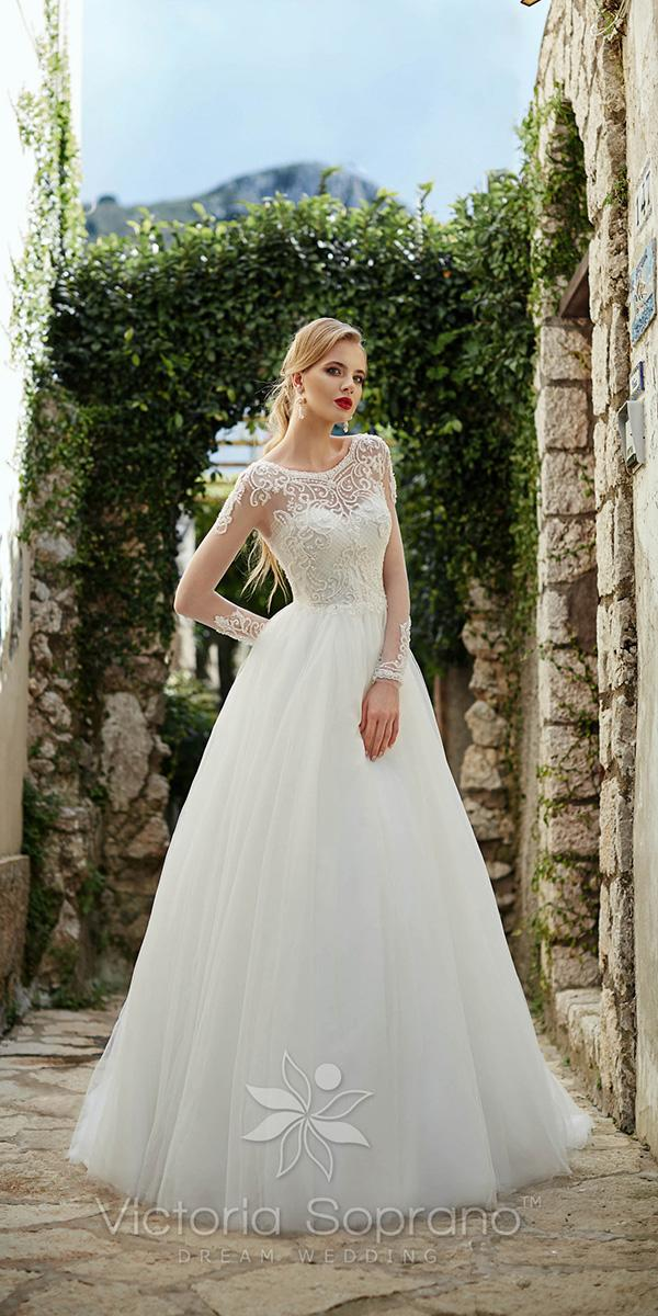 a line with illusion long sleeves and jewel neckline victoria soprano wedding dresses