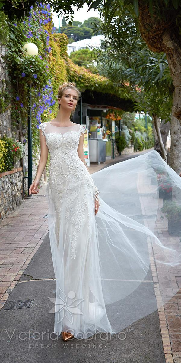 sheath with lace sleeves and illusion jewel neckline victoria soprano wedding dresses