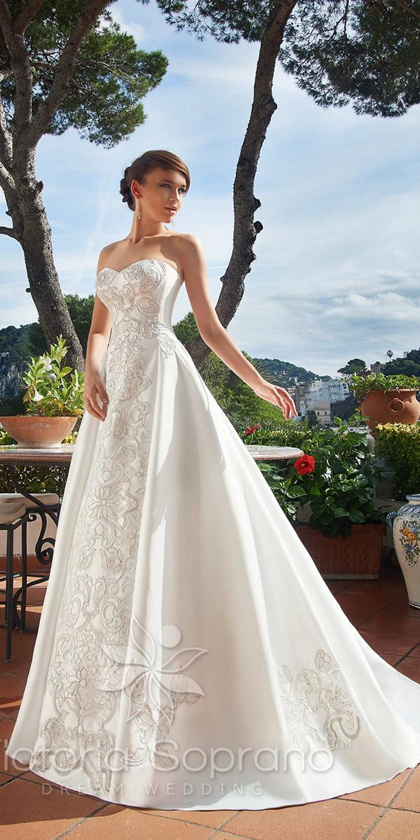 a line with sweetheart and applique victoria soprano wedding dresses
