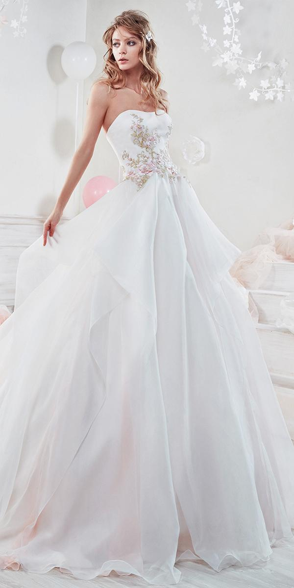 ball gown with semi sweetheart and flowers nicole spose wedding dresses