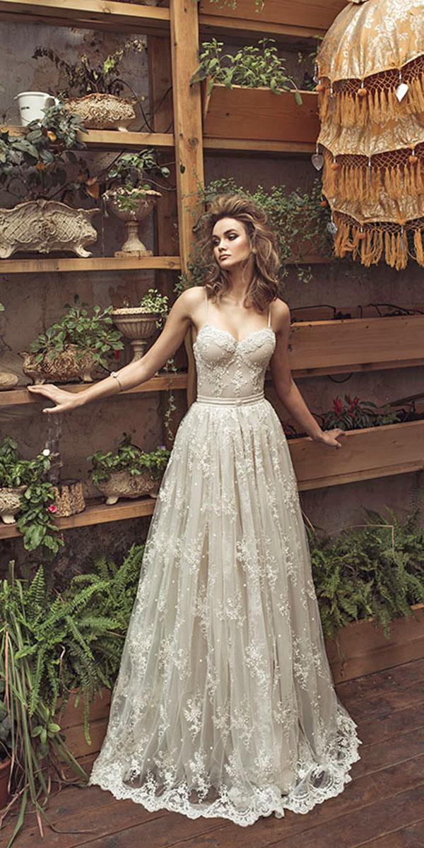 lace a line with sweetheart and spaghetti strap julie vino wedding dresses
