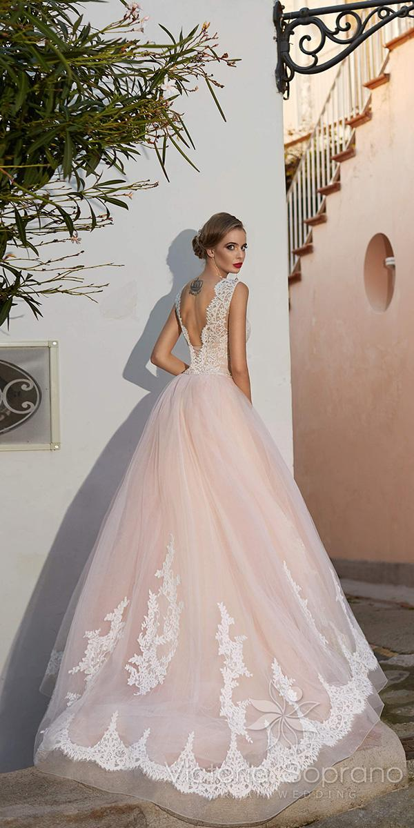 pink a line with lace applique open back victoria soprano wedding dresses