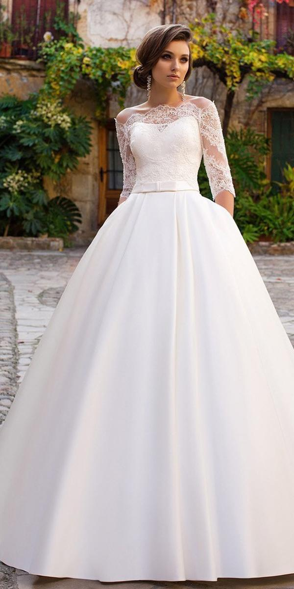 aline with lace sweetheart 3 4 sleeves allegresse wedding dresses