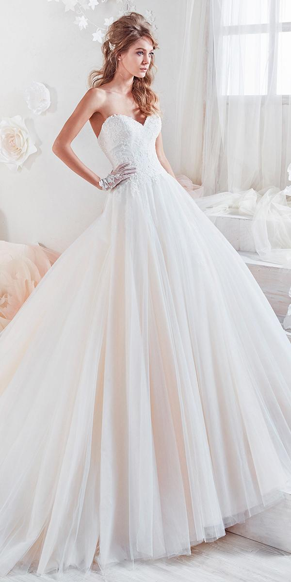 ball gown with srapless embroidered lace sweetheart nicole spose wedding dresses