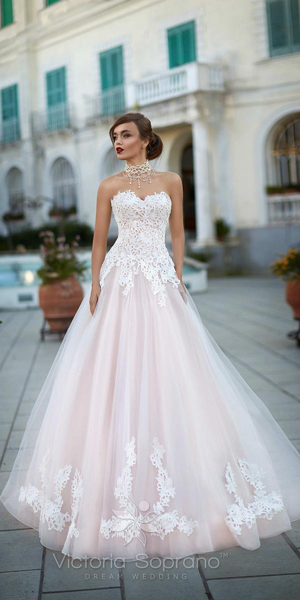 a line with strapless sweetheart and lace applique victoria soprano wedding dresses