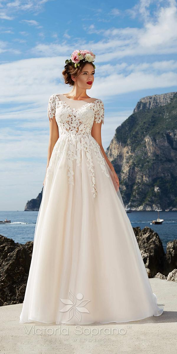 a line with jewel neckline short sleeves and lace applique victoria soprano wedding dresses