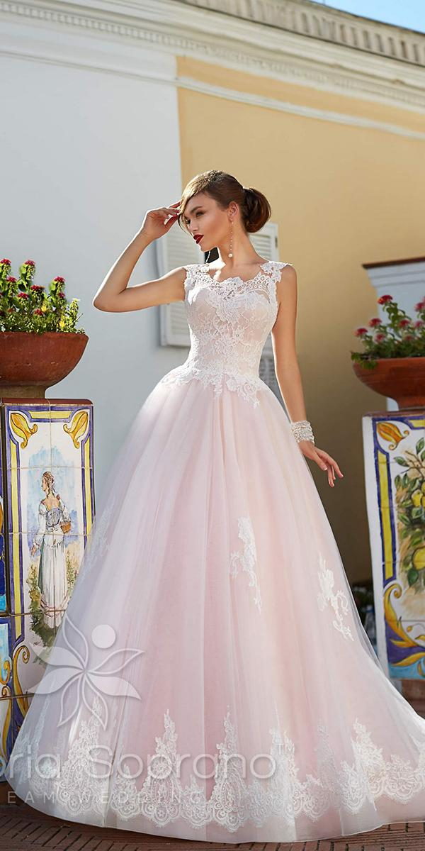 pink ball gown with lace applique strap victoria soprano wedding dresses