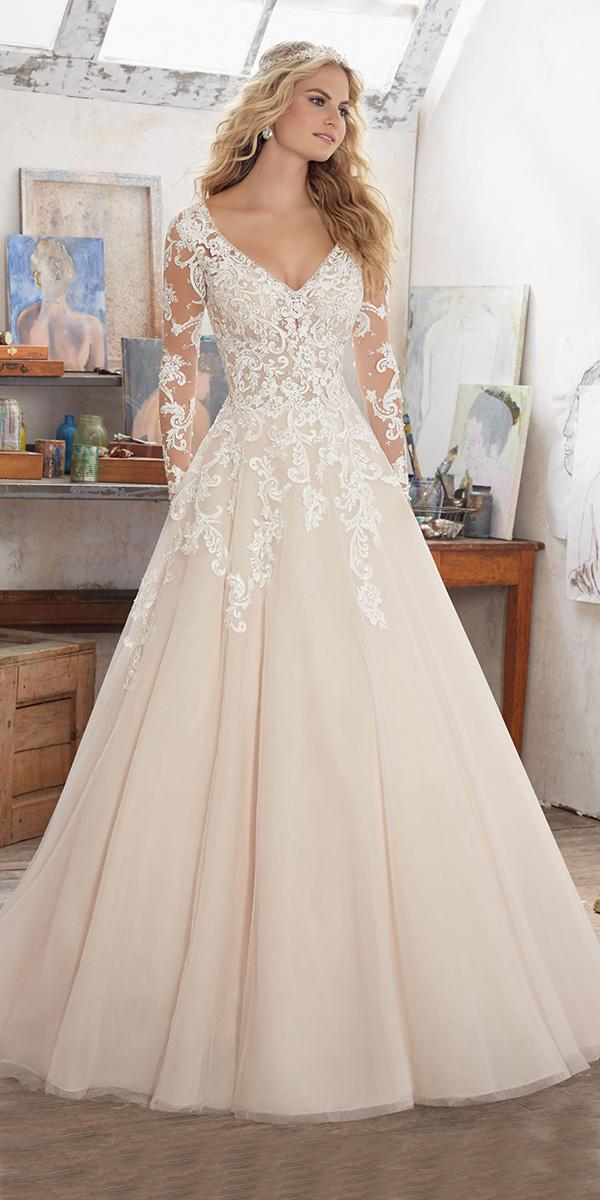 lace ivory aline with long sleevs and v neck mori lee wedding dresses