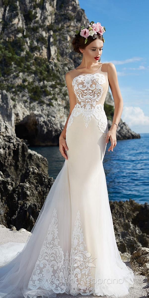 nude sheath with illusion jewel and train victoria soprano wedding dresses