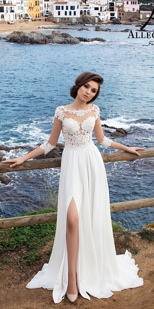 lace sheath with 3 4 sleeves and slit wedding dresses allegresse