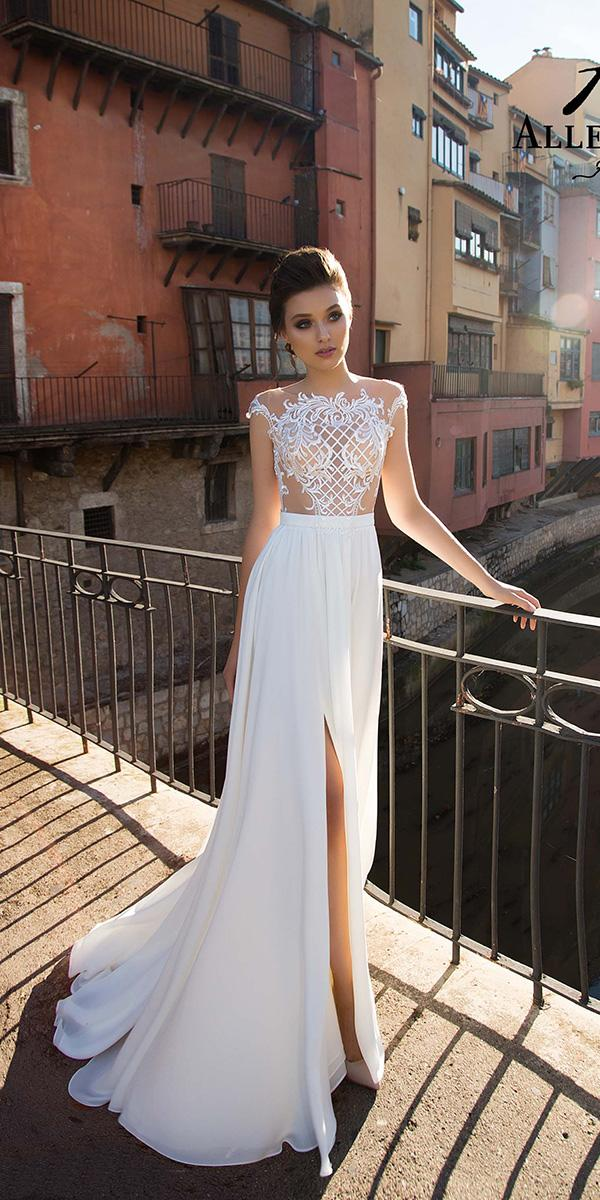 lace wedding dresses with tattoo effect and slit allegresse
