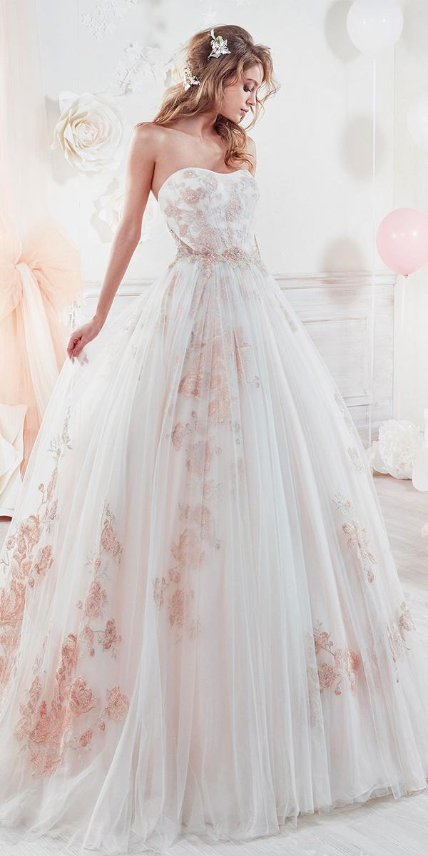 ball gown with pink flower and semi sweetheart nicole spose wedding dresses