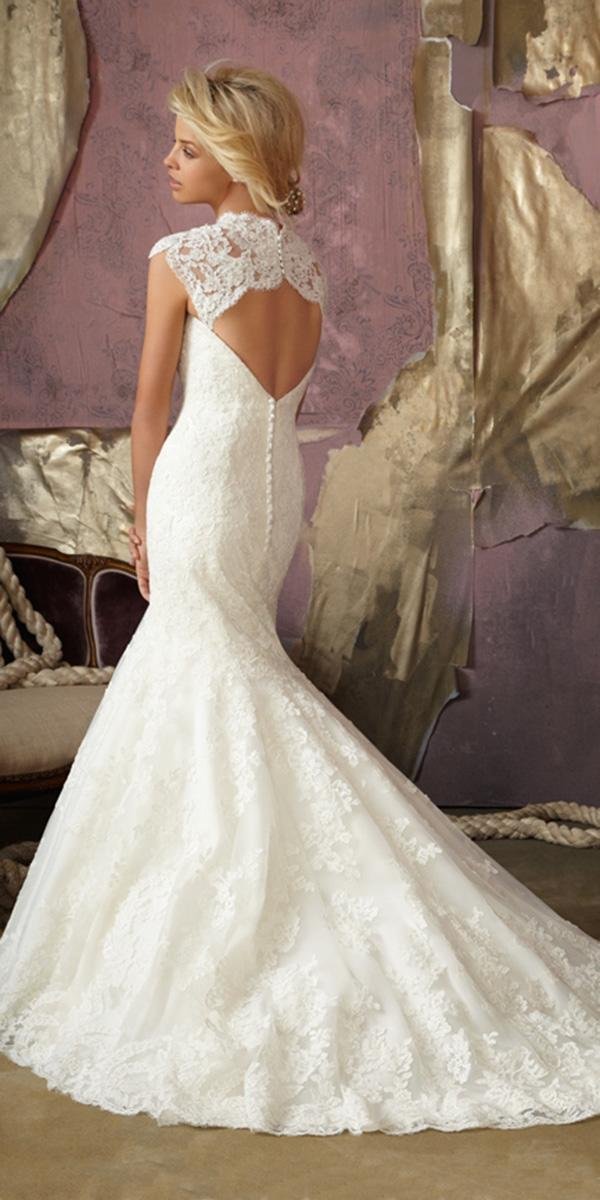 mermaid wedding dresses with train and keyhole mori lee