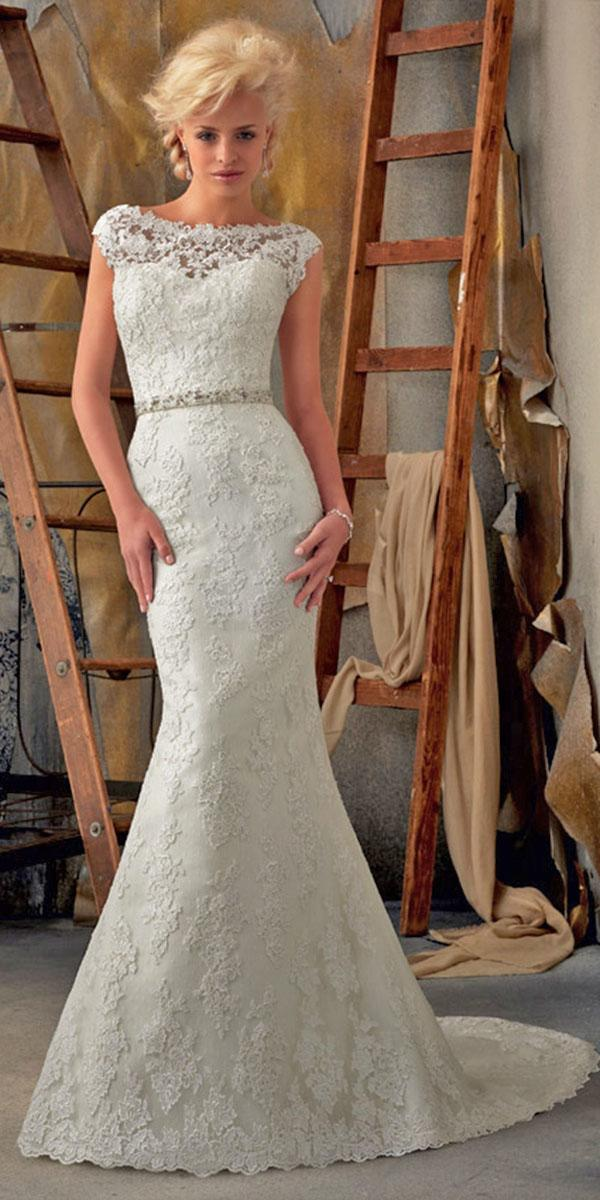 mermaid sabrina illusion neckline with crystal belt mori lee wedding dresses