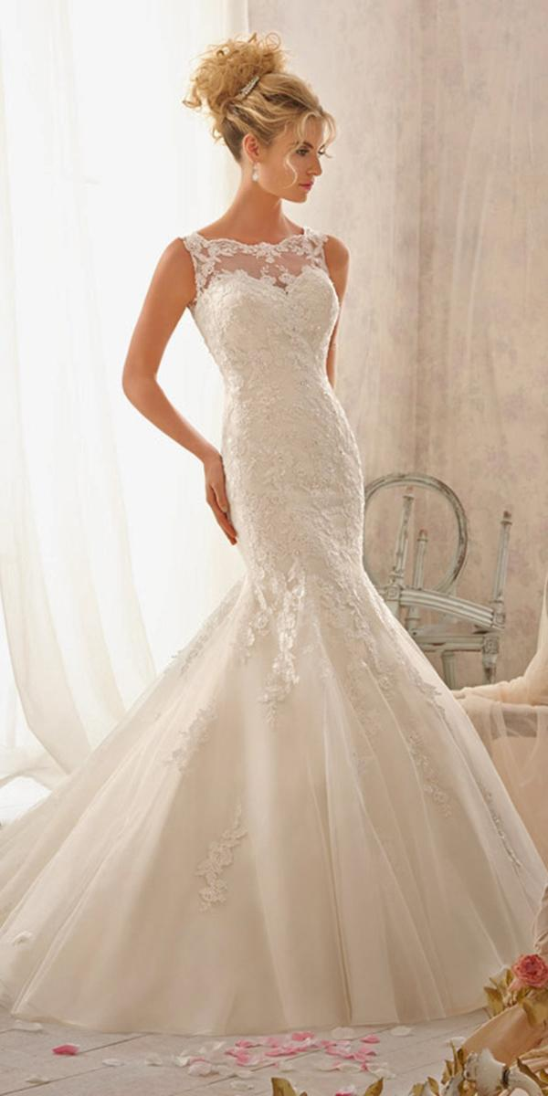 mermaid style with train and illusion neckline mori lee wedding dresses