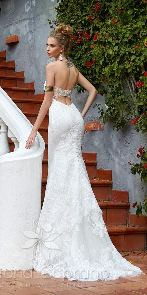 lace sheath strapless sweetheart neckline victoria soprano wedding dresses