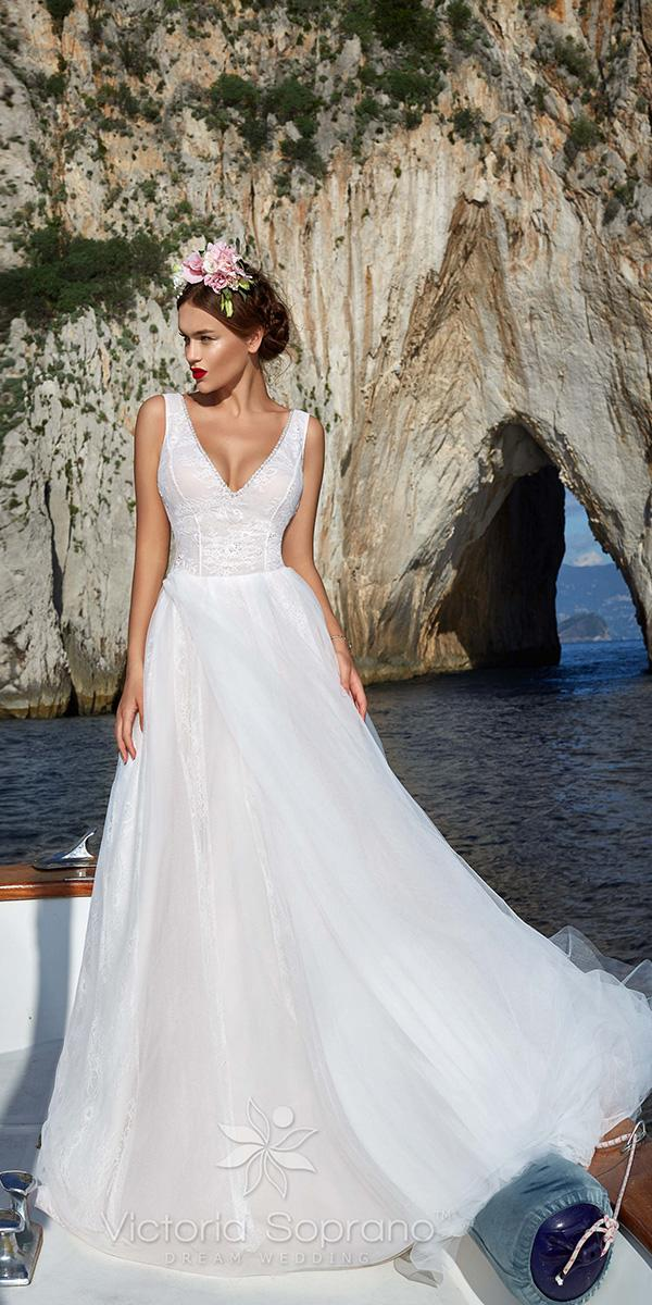 a line with v neckline and lace bodice victoria soprano wedding dresses